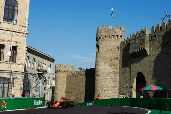 Baku City Circuit, Baku, Azerbaijan. Friday 23 June 2017. Fernando Alonso, McLaren MCL32 Honda. World Copyright: Steven Tee/LAT Images ref: Digital Image _R3I2448