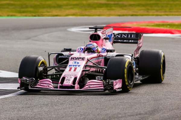 Silverstone, Northamptonshire, UK.  Friday 14 July 2017. Sergio Perez, Force India VJM10 Mercedes. World Copyright: Charles Coates/LAT Images  ref: Digital Image AN7T4150