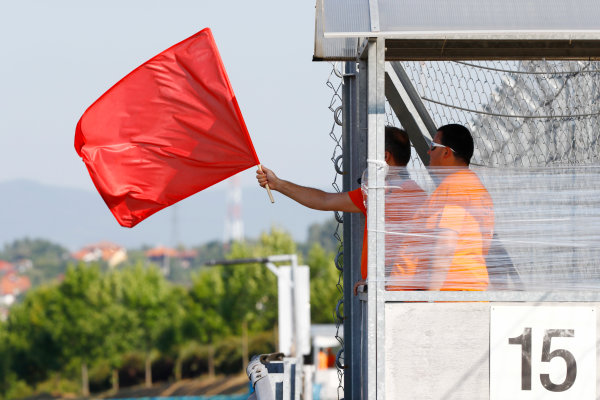 Hungaroring, Budapest, Hungary.  Tuesday 01 August 2017. Red Flag. World Copyright: Joe Portlock/LAT Images  ref: Digital Image _R3I9904