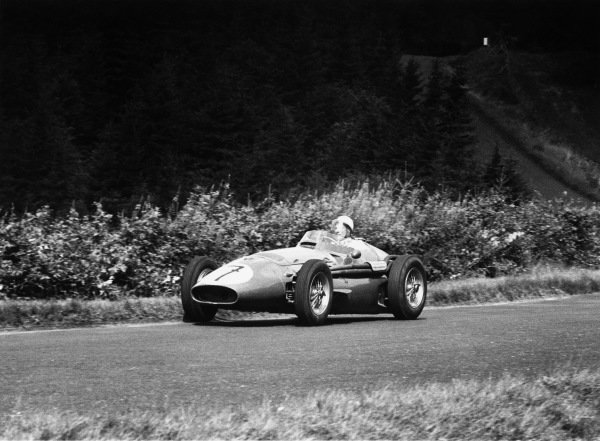 Nurburgring, Germany. 5th August 1956.Stirling Moss (Maserati 250F), 2nd position, action.World Copyright: LAT Photographic.Ref: 412 - 17.