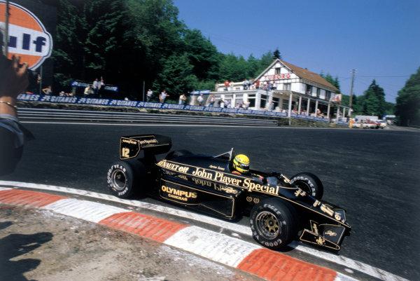 1985 Belgian Grand Prix.Spa-Francorchamps, Belgium. 13-15 September 1985.Ayrton Senna (Lotus 97T Renault) 1st position.Ref-85 BEL 09.World Copyright - LAT Photographic