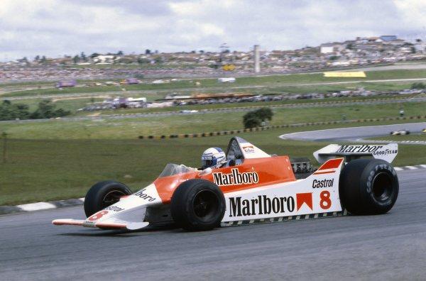 1980 Brazilian Grand Prix.Interlagos, Sao Paulo, Brazil. 25-27 January 1980.Alain Prost (McLaren M29B-Ford Cosworth), 5th position.World Copyright: LAT PhotographicRef: 35mm transparency 80BRA07