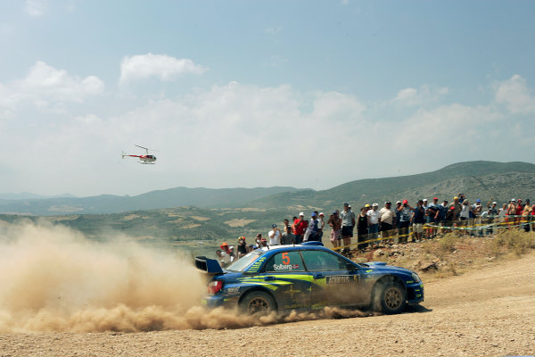 2005 FIA World Rally Champs. Round eightAcropolis Rally 23rd - 26th June 2005 Petter Solberg, Subaru, Action.