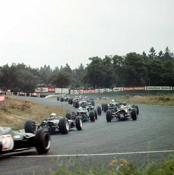 Nurburgring, Germany.5-7 August 1966.The start from behind.Ref-3/2332.World Copyright LAT Photographic