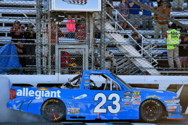 NASCAR Camping World Truck Series Alpha Energy Solutions 250 Martinsville Speedway, Martinsville, VA USA Saturday 1 April 2017 Chase Elliott celebrates his win World Copyright: Nigel Kinrade/LAT Images ref: Digital Image 17MART1nk05307