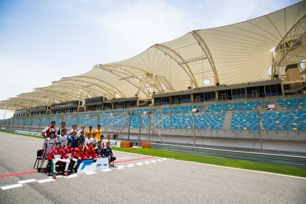 2017 FIA Formula 2 Round 1. Bahrain International Circuit, Sakhir, Bahrain.  Thursday 13 April 2017. Class photo on the grid. Photo: Sam Bloxham/FIA Formula 2. ref: Digital Image _J6I8305