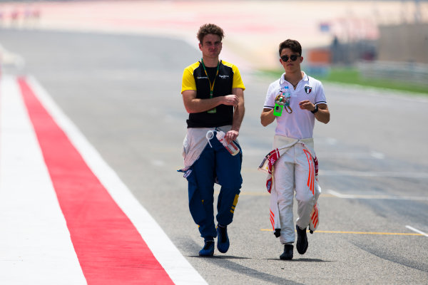 2017 FIA Formula 2 Round 1. Bahrain International Circuit, Sakhir, Bahrain.  Thursday 13 April 2017. Class photo on the grid. Photo: Sam Bloxham/FIA Formula 2. ref: Digital Image _W6I7633