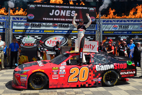 2017 NASCAR Xfinity Series My Bariatric Solutions 300 Texas Motor Speedway, Fort Worth, TX USA Saturday 8 April 2017 Erik Jones, Game Stop/ GAEMS Toyota Camry, Celebrates in victory lane. World Copyright: Logan Whitton/LAT Images ref: Digital Image 17TEX1jh_02915