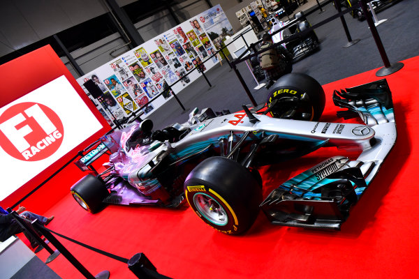 Autosport International Exhibition. National Exhibition Centre, Birmingham, UK. Thursday 11th January 2017. A Mercedes on the F1 Racing Stand.World Copyright: Mark Sutton/Sutton Images/LAT Images Ref: DSC_7097