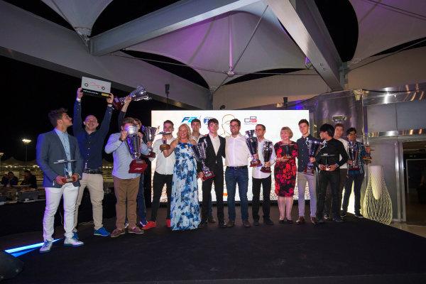 2017 Awards Evening. Yas Marina Circuit, Abu Dhabi, United Arab Emirates. Sunday 26 November 2017. Award winners on stage. Photo: Zak Mauger/FIA Formula 2/GP3 Series. ref: Digital Image _X0W0216