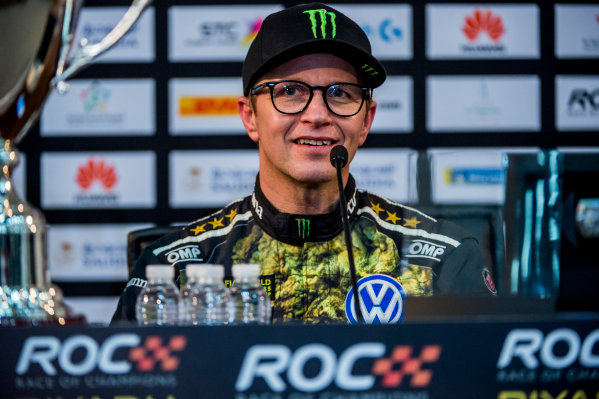 2018 Race Of Champions King Farhad Stadium, Riyadh, Abu Dhabi. Saturday 3 February 2018 Runner up Petter Solberg (NOR) talks in the post event press conference. Copyright Free FOR EDITORIAL USE ONLY. Mandatory Credit: 'Race of Champions'