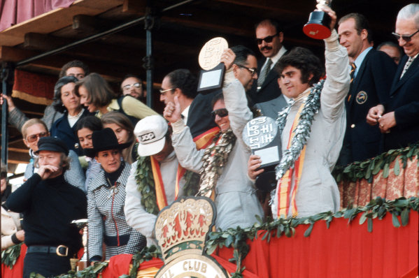 Montjuich Park, Barcelona, Spain.27-29 April 1973.Emerson Fittipaldi (Team Lotus), Francois Cevert (Tyrrell Ford) and George Follmer (Shadow Racing) after finishing in 1st, 2nd and 3rd positions respectively.Ref-35mm 73 ESP 23.World Copyright - LAT Photographic