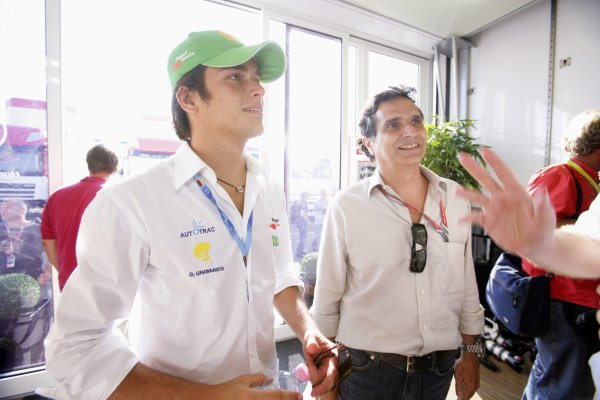 2006 German Grand Prix - Friday Practice Hockenheim, Germany. 27th - 30th July. Nelson Piquet Jr and Nelson Piquet, portrait. World Copyright: Lorenzo Bellanca/LAT Photographic ref: Digital Image AZD2J0274