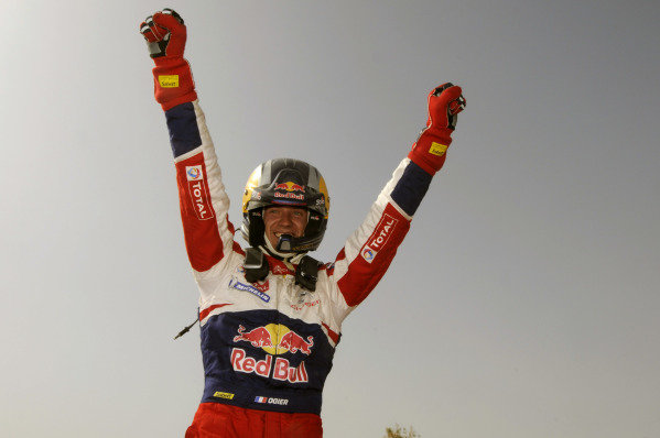 Sebastien Ogier (FRA) celebrates his rally win at the end of the final stage. He won the rally by just 0.2s.World Rally Championship, Rd4, Rally Jordan, Dead Sea, Amman, Jordan, Day 3, Saturday 16 April 2011.
