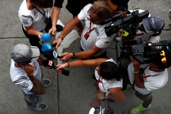 Sepang International Circuit, Sepang, Malaysia. Thursday 29 September 2016. Lewis Hamilton, Mercedes AMG talks to the media. World Copyright: Glenn Dunbar/LAT Photographic ref: Digital Image _31I7785