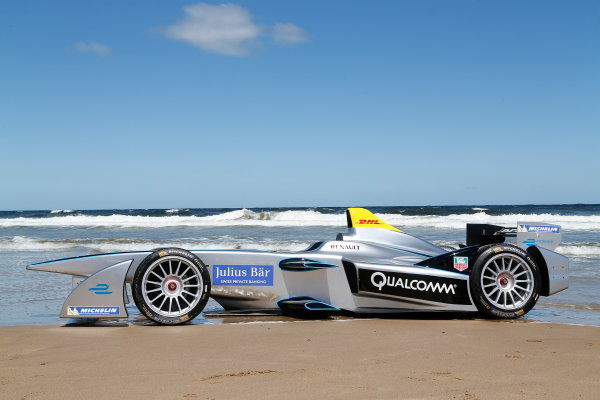FIA Formula E Test Day. Formula E Car on the beach. Punta Del Este, Uruguay, South America. Formula E Third Race Event, 11th - 14th December 2014. Sunday 14 December 2014.  Photo: Adam Warner/LAT/FE ref: Digital Image _L5R5111