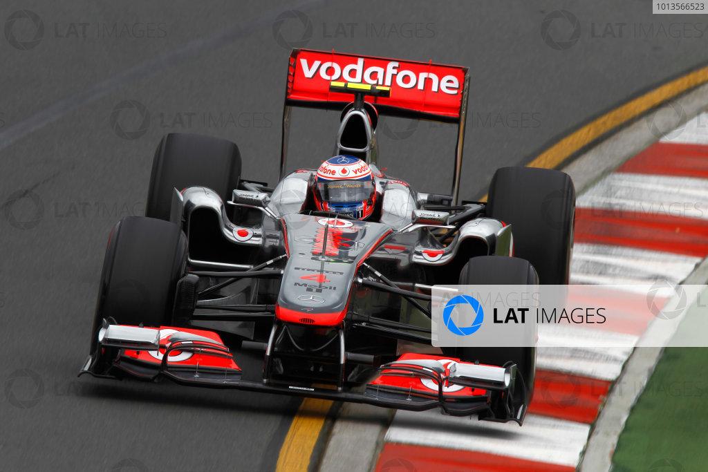 Albert Park, Melbourne, Australia 25th March 2011. Jenson Button, McLaren MP4-26 Mercedes. Action.  World Copyright: Andrew Ferraro/LAT Photographic ref: Digital Image _Q0C8070