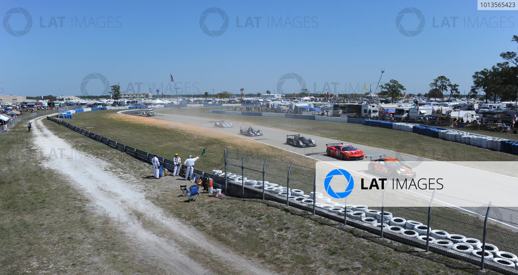 14-19 March 2011. Sebring, Florida USA#030 NGT Motorsports Porsche 911 GT3 Cup heading group of cars.©2011 Dan R. Boyd LAT Photo USA