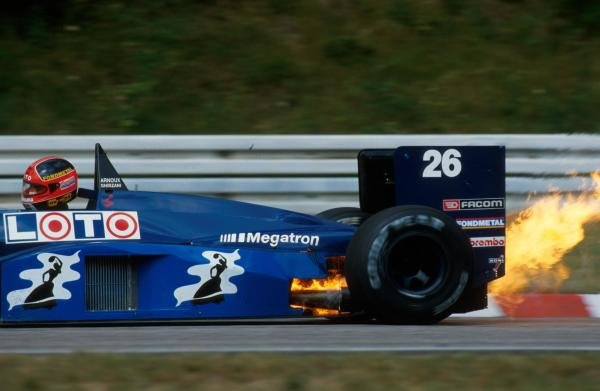 Piercarlo Ghinzani (ITA) Ligier JS29C, suffers engine failure. DNF. German Grand Prix, Hockenheim, 26 July 1987