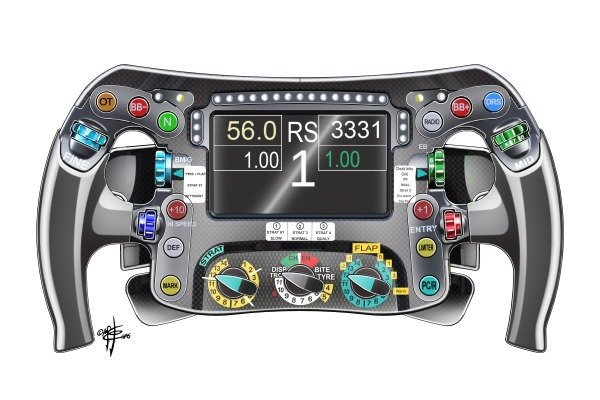 Mercedes F1 W07 steering wheel