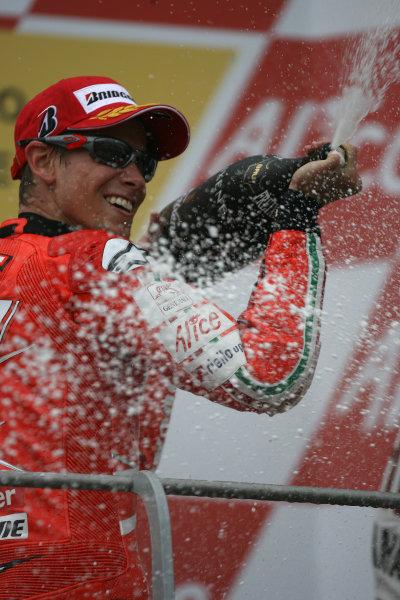 Gran Premio D'Itali Alice.Mugello, Italy. 31st May 2009.Casey Stoner Ducati Marlboro Team sprays the winners champagne.World Copyright: Martin Heath/LAT Photographicref: Digital Image BPI_Moto 8k3l