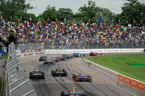 1-2 June, 2012, Detroit, Michigan, USALeader Scott Dixon (#9) leads the field into turn one as the race is restarted.(c)2012, F. Peirce WilliamsLAT Photo USA