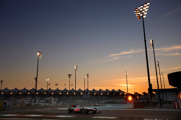 Yas Marina Circuit, Abu Dhabi, United Arab Emirates 13th November 2011. Lewis Hamilton, McLaren MP4-26 Mercedes, 1st position. Action.  World Copyright: Steve Etherington/LAT Photographic  ref: Digital Image SNE21052