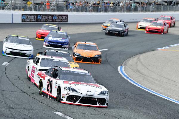 #20: Harrison Burton, Joe Gibbs Racing, Toyota Supra DEX Imaging, #22: Austin Cindric, Team Penske, Ford Mustang Car Shop