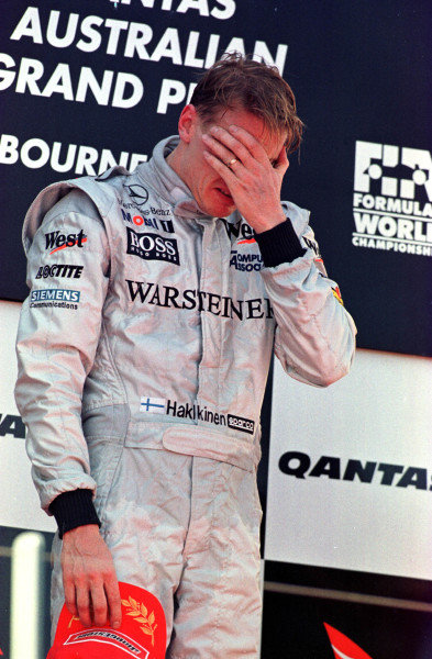1998 Australian Grand Prix.Albert Park, Melbourne, Australia.6-8 March 1998.Mika Hakkinen (McLaren Mercedes-Benz) in tears after winning the race.World Copyright - LAT Photographic