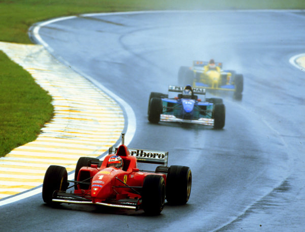1996 Brazilian Grand Prix.Interlagos, Sao Paulo, Brazil.29-31 March 1996.Michael Schumacher (Ferrari F310) leads Heinz-Harald Frentzen (Sauber C15 Ford). Schumacher finished in 3rd position.World Copyright - LAT Photographic