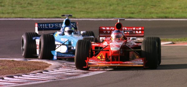 1998 Luxembourg Grand PrixNurburgring, Germany. 25-27 September 1998.Jaqcues Villeneuve (Williams FW20 Mecachrome) leads Giancarlo Fisichella (Benetton B198 Playlife) during the warm-up.World Copyright - Steve Etherington/LAT Photographic