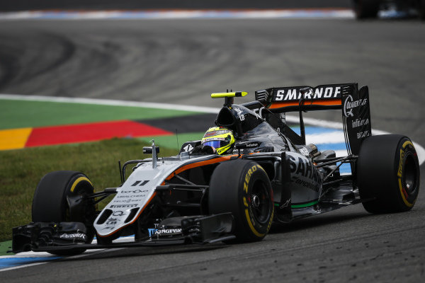 Sergio Perez (MEX) Force India VJM09 at Formula One World Championship, Rd12, German Grand Prix, Practice, Hockenheim, Germany, Friday 29 July 2016.