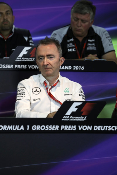 Paddy Lowe (GBR) Mercedes AMG F1 Executive Director (Technical) in the Press Conference at Formula One World Championship, Rd12, German Grand Prix, Practice, Hockenheim, Germany, Friday 29 July 2016.