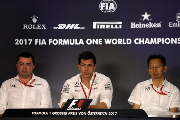 Eric Boullier (FRA) McLaren Racing Director, Toto Wolff (AUT) Mercedes AMG F1 Director of Motorsport and Yusuke Hasegawa (JPN) Head of Honda Motorsport in the Press Conference at Formula One World Championship, Rd9, Austrian Grand Prix, Practice, Spielberg, Austria, Friday 7 July 2017.