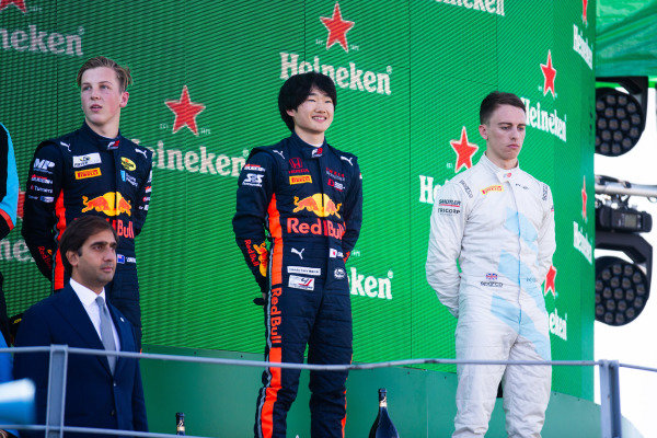 AUTODROMO NAZIONALE MONZA, ITALY - SEPTEMBER 08: Yuki Tsunoda (JPN, Jenzer Motorsport) Liam Lawson (NZL, MP Motorsport) and Jake Hughes (GBR, HWA RACELAB) during the Monza at Autodromo Nazionale Monza on September 08, 2019 in Autodromo Nazionale Monza, Italy. (Photo by Joe Portlock / LAT Images / FIA F3 Championship)