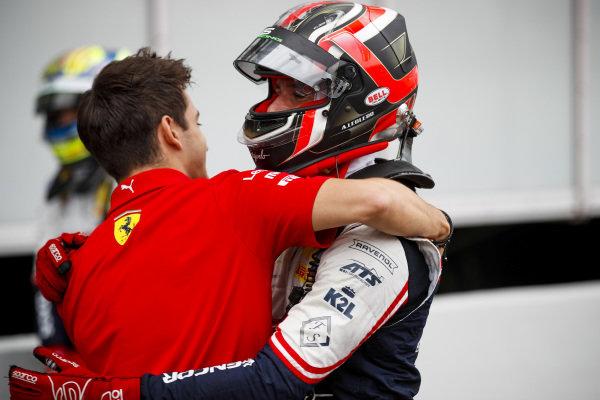 Charles Leclerc, Ferrari celebrates with his brother Race winner Arthur Leclerc in Parc Ferme