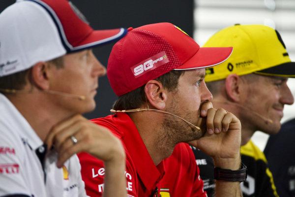 Sebastian Vettel, Ferrari, Nico Hulkenberg, Renault F1 Team and Kimi Raikkonen, Alfa Romeo Racing In the Press Conference