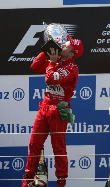 2002 European Grand Prix - RaceNurburgring, Germany. 23rd June 2002Race winner Rubens Barrichello, Ferrari F2002, podium.World Copyright: Steve Etherington/LATref: Digital Image Only