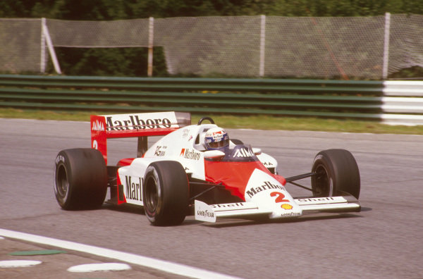 Osterreichring, Zeltweg, Austria.16-18 August 1985.Alain Prost (McLaren MP4/2B TAG Porsche) 1st position.Ref-85 AUT 13.World Copyright - LAT Photographic