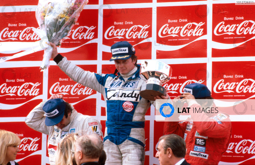 1980 Belgian Grand Prix.Zolder, Belgium.2-4 May 1980.Didier Pironi (Ligier Ford) 1st position, Alan Jones 2nd position and Carlos Reutemann 3rd position (both Williams Ford) on the podium.Ref-80 BEL 07.World Copyright - LAT Photographic