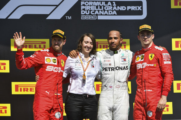 Sebastian Vettel, Ferrari, Margarita Torres Diez, Mercedes AMG F1 PU Engineer, Lewis Hamilton, Mercedes AMG F1 and Charles Leclerc, Ferrari celebrate on the podium