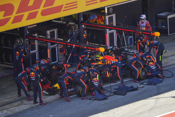 Pierre Gasly, Red Bull Racing RB15, makes a stop