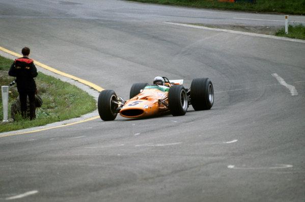 Spa-Francorchamps, Belgium. 7-9 June 1968. Bruce McLaren (McLaren M7A Ford) 1st position. This was the McLaren constructors maiden Grand Prix win. Ref-68BEL04. World Copyright - LAT Photographic