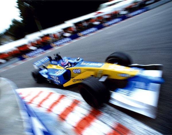 2003 Racing Past. . Exhibition2002 Belgian Grand Prix, Spa-Francorchamps. Jenson Button rounds La Source in the Renault R202.World Copyright - LAT PhotographicExhibition ref: a039