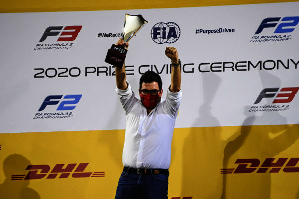 Prema boss Rene Rosin receives the 1st position in the Teams' Championship Trophy