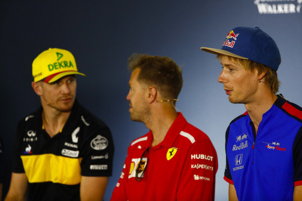 Nico Hulkenberg, Renault Sport F1 Team, Sebastian Vettel, Ferrari, and Brendon Hartley, Toro Rosso, in the Thursday press conference.