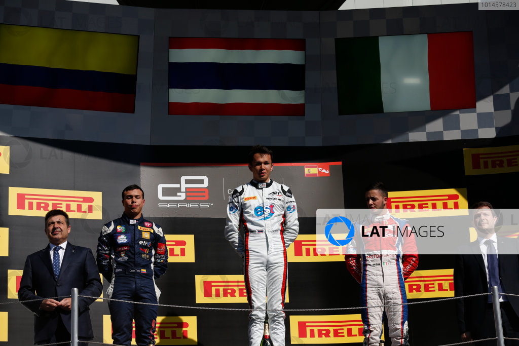 2016 GP3 Series Round 1 Circuit de Catalunya, Barcelona, Spain. Sunday 15 May 2016. Alexander Albon (THA, ART Grand Prix), Oscar Tunjo (COL, Jenzer Motorsport) & Antonio Fuoco (ITA, Trident)  Photo: Sam Bloxham/GP3 Series Media Service. ref: Digital Image _R6T9451