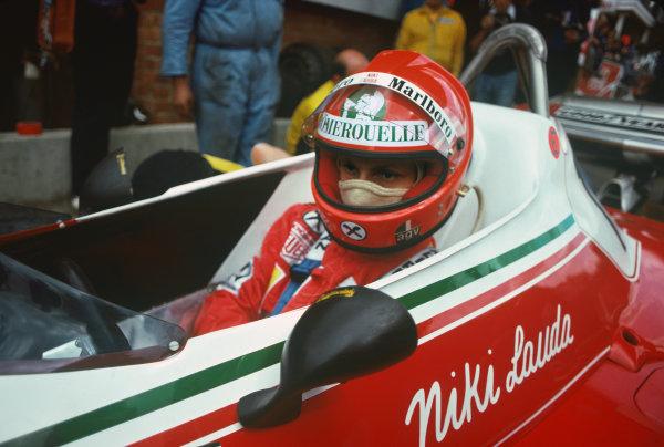Zolder, Belgium. 14th - 16th May 1976. Niki Lauda (Ferrari 312T2), 1st position, portrait.  World Copyright: LAT Photographic.  Ref: 76 BEL 31.