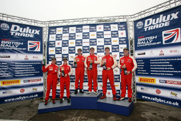 Isle of Man. 9th - 10th July 2010. Citroen Racing Trophy Podium (l-r