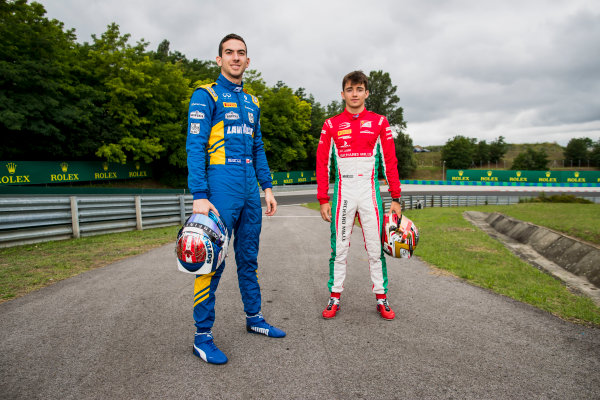 2017 FIA Formula 2 Round 7. Hungaroring, Budapest, Hungary. Thursday 27 July 2017. Charles Leclerc (MCO, PREMA Racing) and Nicholas Latifi (CAN, DAMS).  Photo: Zak Mauger/FIA Formula 2. ref: Digital Image _56I0175
